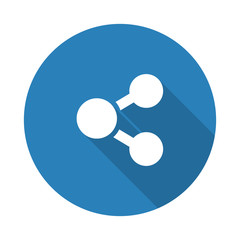 Flat white Share web icon with long drop shadow on blue circle