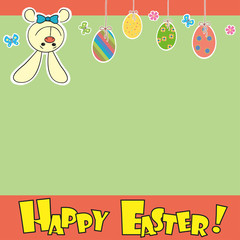 Easter Background with cute rabbit, colorful eggs