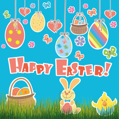 Easter Background with cute rabbit, colorful eggs and a chick,