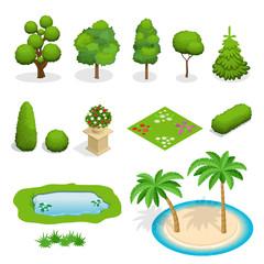 Isometric flat vector trees elements for landscape design. Diversity of trees set on white. Trees, shrubs, flowers, flower bed, palm illustration.