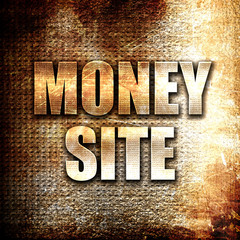 money site, written on vintage metal texture