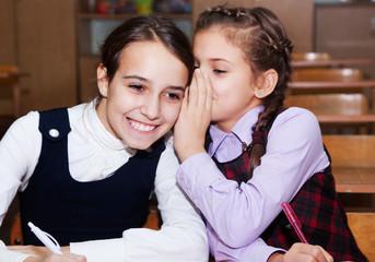 schoolgirls speak  in the classroom