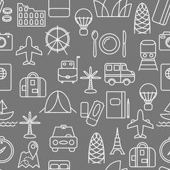 Thin line icons seamless pattern. Travel and transportation icon grey background for websites, apps, presentations, cards, templates.