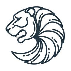 Bear head vector line logo.