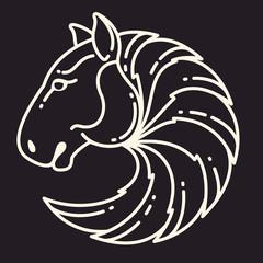 Horse head line vector sport logo.