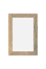 Empty vintage wood photo frame isolated on white background
