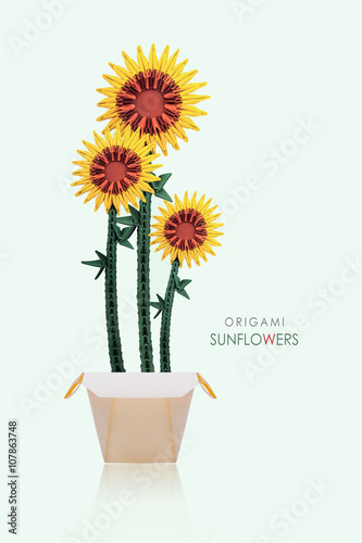 Origami Sunflowers In A Pot Stock Photo And Royalty Free Images On