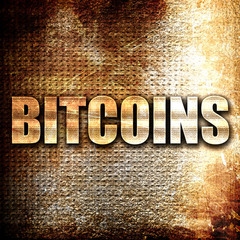 bitcoins, written on vintage metal texture