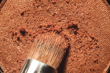 Macro crumbly eyeshadow refill. Professional cosmetic. Makeup tools.
