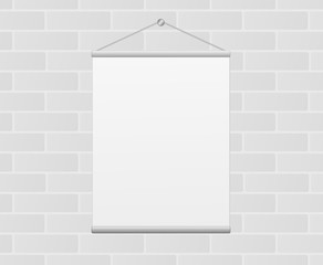 Blank Vertical White Canvas Poster Hanging on Gray Brick Wall Illustration