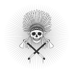Injun with axe skull logo badge icon isolated on white background