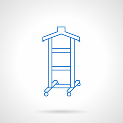 Clothes hanger flat blue line vector icon