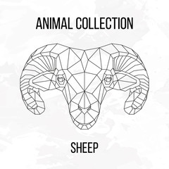 Sheep head geometric lines silhouette isolated on white background vintage design element