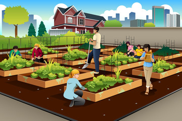 People Doing Community Gardening