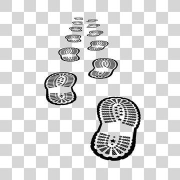 Shoe print on chekered background