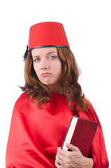 Woman wearing fez hat isolated on white