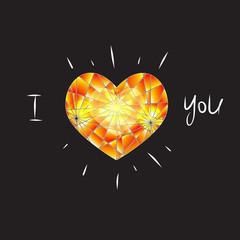 vector diamond heart on black background