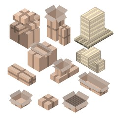 Set of  isometric cardboard boxes isolated on white.