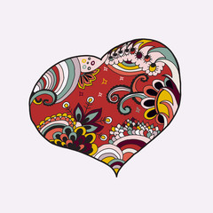 Big abstract multicolored heart. Vector abstract art background. Handmade illustration.