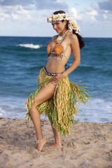Pretty woman dressed in Hawaiian costume made of sea shells and wearing a lei. looking at camera smiling with ocean in background