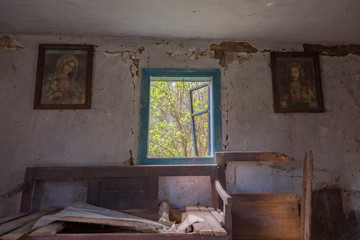 Interior of abandoned and ruined house