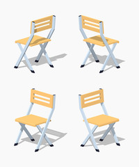Folding chair. 3D lowpoly isometric vector illustration. The set of objects isolated against the white background and shown from different sides