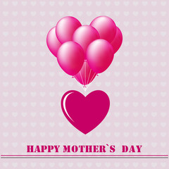 Happy Mothers Day. Festive Holiday typographical stylish vector illustration with balloons heart on the background of hearts with an lettering postcard