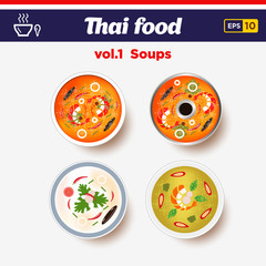 Thai food icon set. Hot spicy chilly soups