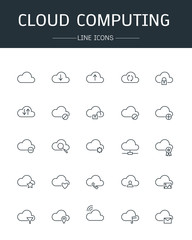 vector cloud computing icons line style