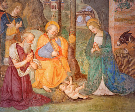 Rome - The fresco Nativity with the St. Jerome by Bernardino Pinturicchio (1488 - 1490) in Rovere chapel in church Basilica di Santa Maria del Popolo.