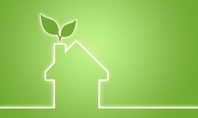 Haus mit Blatt und Glühbirne, ENEV, Energieeffizienz, Ökostrom, Erneuerbare Energienn Nachhaltigkeit