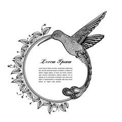 hummingbird, zentangle style. vector illustration
