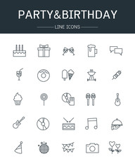vector party and birthday icons line style