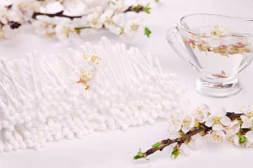 Cotton ear stick with apricot blossom