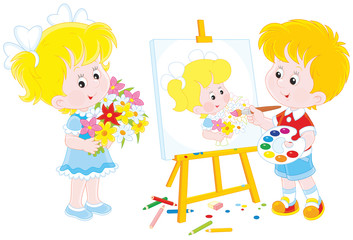 a boy drawing a portrait of a girl with flowers