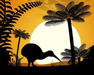 Kiwi bird on a background of tree ferns.