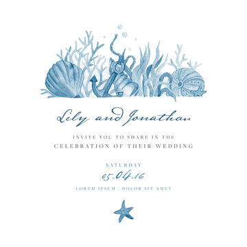 Marine wedding invitation. Vector template.