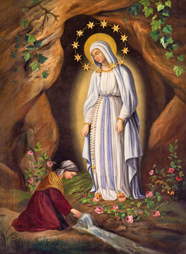 Rome - The Appearance of Virgin to st. Bernadette in Lourdes by unknown artist (1873) in church Chiesa di Santa Maria in Aquiro.