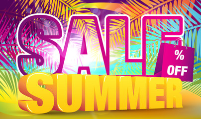 Colorful Summer Sale Banner - Vector Illustration