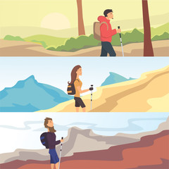 Set of flat vector web banners on the theme Hiking, Trekking, Walking. Sports, outdoor recreation, adventures in nature