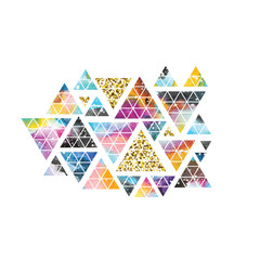 Triangular space design. Abstract watercolor ornament.