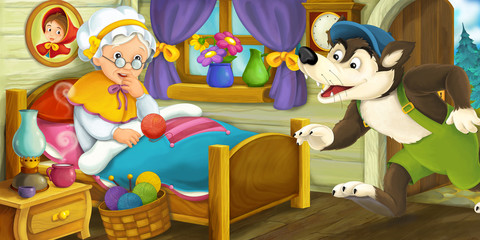 Cartoon scene of a wolf coming in to the house of an old woman - illustration for children