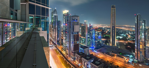 Sheikh Zayed Road in Dubai Top aerial view from the edge of a balcony