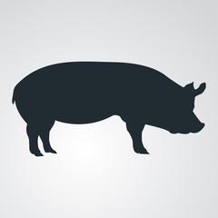 Icono plano silueta de cerdo en fondo degradado #1