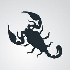 Icono plano escorpion en fondo degradado