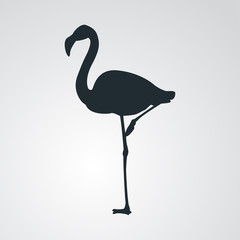 Icono plano silueta flamingo en fondo degradado