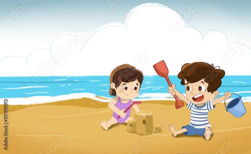 Niños En La Playa Jugando En La Arena Hacen Castillos De Arena
