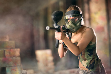 Paintball, female player