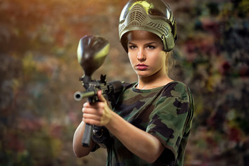 attractive female paintball