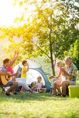happy family enjoying on summer day.